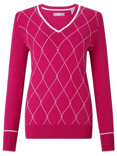 Callaway V Neck Tubular Jacquard Sweater