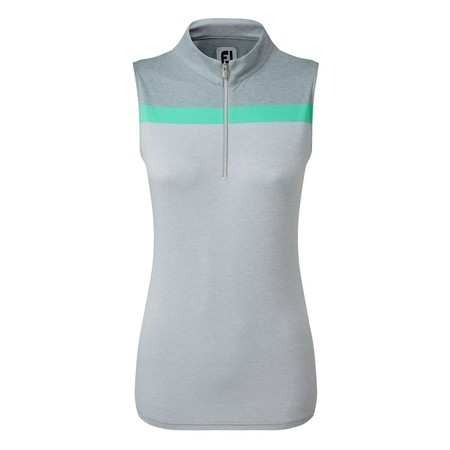 FootJoy Womens Lisle Engineered Stripe Sleeveless Shirt